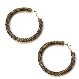 Earring 767c 50 It's Sense rhinestone earrings hoop gold