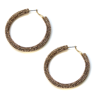 Earring 817j 50 It's Sense rhinestone earrings hoop rose gold