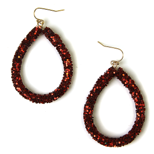 Earring 870e 50 It's Sense tear drop glitter earrings dark red