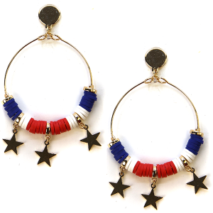 Earring 1151a 50 It's Sense hoop star usa america earrings
