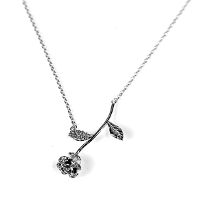 Necklace 897 54 Fresh & Co cubic zirconia rose necklace silver