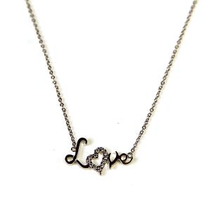 Necklace 885 54 Fresh & Co cubic zirconia love necklace silver