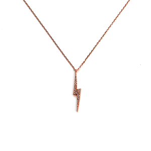 Necklace 275c 54 Fresh & Co thunder bolt necklace rhinestones rose gold