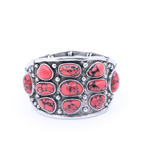 (Bracelet 798 58 Marvel) Large cuff stretch adjustable stone bracelet red
