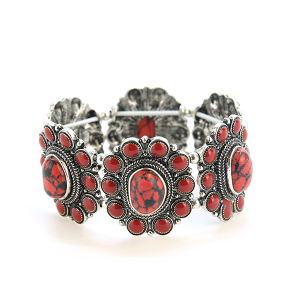 Bracelet 825a 58 Marvel concho stone stretch bangle red
