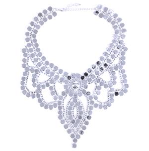 (Necklace 1919 58 C&C) Large Chain bib silver