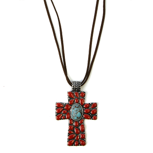 Necklace 1072 58 Marvel string cross necklace navajo red