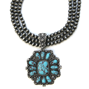 Necklace 478d 58 Tanie Navajo Necklace Concho Turquoise stone