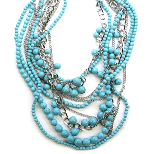 Necklace 912 58 Tyche multi layer bead necklace turquoise