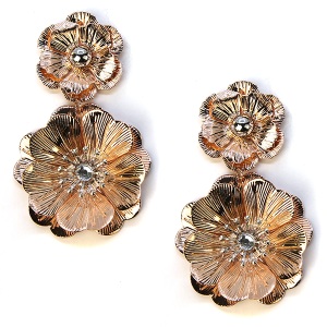 Earring 2470a 60 Bella stud flower earrings rose gold
