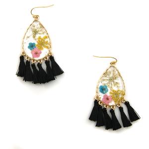 Earring 3069c 60 LuLu Lala tear drop floral tassel earrings clear black
