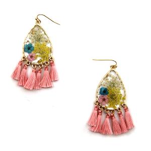 Earring 3056b 60 LuLu Lala tear drop floral tassel earrings clear pink