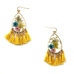 Earring 3075b 60 LuLu Lala tear drop floral tassel earrings clear yellow