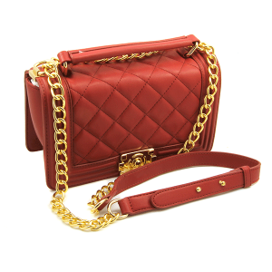 Caleesa quilted leather shoulder bag crossbody 6240 dark red