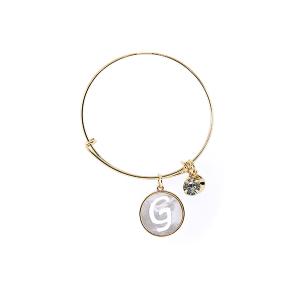 Bracelet 158b 64 Isles & Stars mother pearl nacre letter bracelet - G