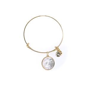 Bracelet 178a 64 Isles & Stars mother pearl nacre letter bracelet - T