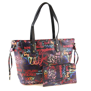 Caleesa Graffiti-D Print Multicolor zipper tote 6523 multi black