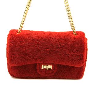 Caleesa 6571 shag fabric crossbody red
