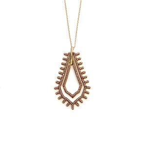 Necklace 532a 65 JM tear drop bead hoop necklace rose gold