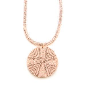 Necklace 255r 65 Core circle seed bead necklace single pink