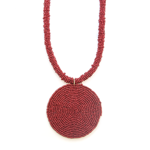 Necklace 029a 65 Core circle seed bead necklace single burgundy