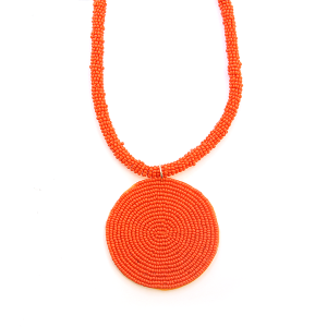 Necklace 043c 65 Core circle seed bead necklace single orange