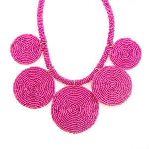 Necklace 911c 65 Core circle seed bead necklace fuchsia