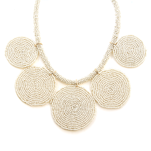 Necklace 464c 65 Core circle seed bead necklace ivory