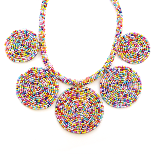 Necklace 924d 65 Core circle seed bead necklace multicolored