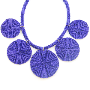 Necklace 382a 65 Core circle seed bead necklace royal blue