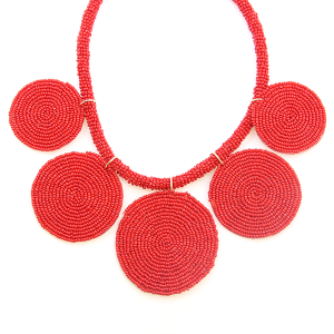 Necklace 549a 65 Core circle seed bead necklace red
