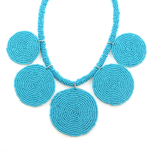 Necklace 498b 65 Core circle seed bead necklace turquoise