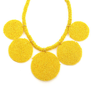 Necklace 556d 65 Core circle seed bead necklace yellow
