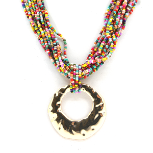 Necklace 602 65 Core string seed bead necklace collar multicolor