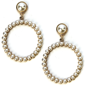 Earring 241a 65 Core stud bead earrings hoop gold ivory