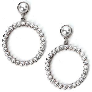 Earring 260a 65 Core stud bead earrings hoop silver ivory