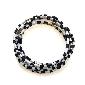 Bracelet 283a 65 Core bracelet stack zebra black white