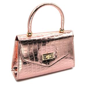 Caleesa 6624 single handle mini bag croc rose gold