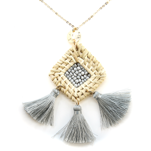 Necklace 1316b 66 M Woven seed bead center tri tassel necklace gray