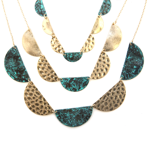 Necklace 1333a 66 M Triple layer contemporary semi circle link gold patina