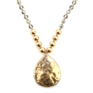 Necklace 1232d 66 M Contemporary bead tear drop necklace gold