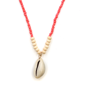 Necklace 200a 66 M Seashell bead short necklace coral