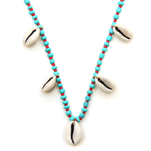 Necklace 074j 66 M Seashell charm bead necklace turquoise coral