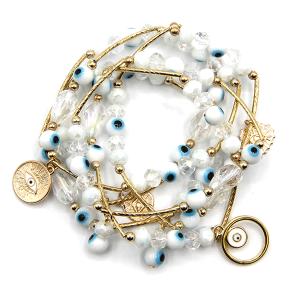 Bracelet 028i 67 Bach 6pc beaded bracelet evil eye white