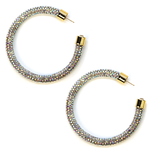 Earring 344b 69 Bach rhinestone earrings hoop silver ab