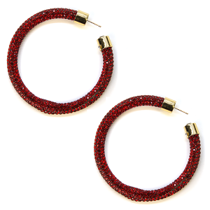 Earring 341c 69 Bach rhinestone earrings hoop red