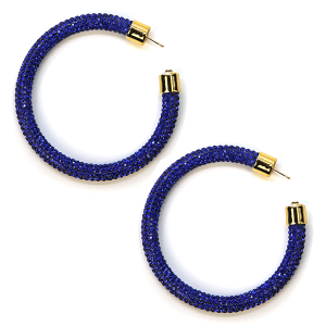 Earring 325m 69 Bach rhinestone earrings hoop blue