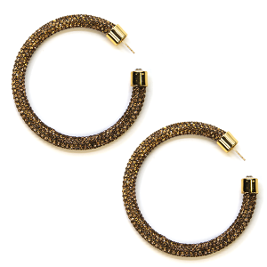 Earring 340h 69 Bach rhinestone earrings hoop brown