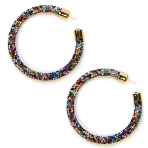 Earring 339d 69 Bach rhinestone earrings hoop multicolor