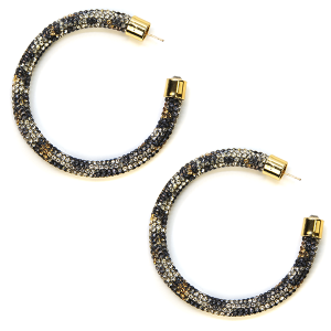 Earring 329e 69 Bach rhinestone earrings hoop leopard